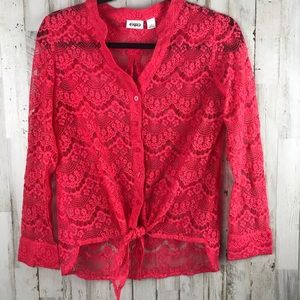 Cato lace Button Up Tie waist  Blouse Small